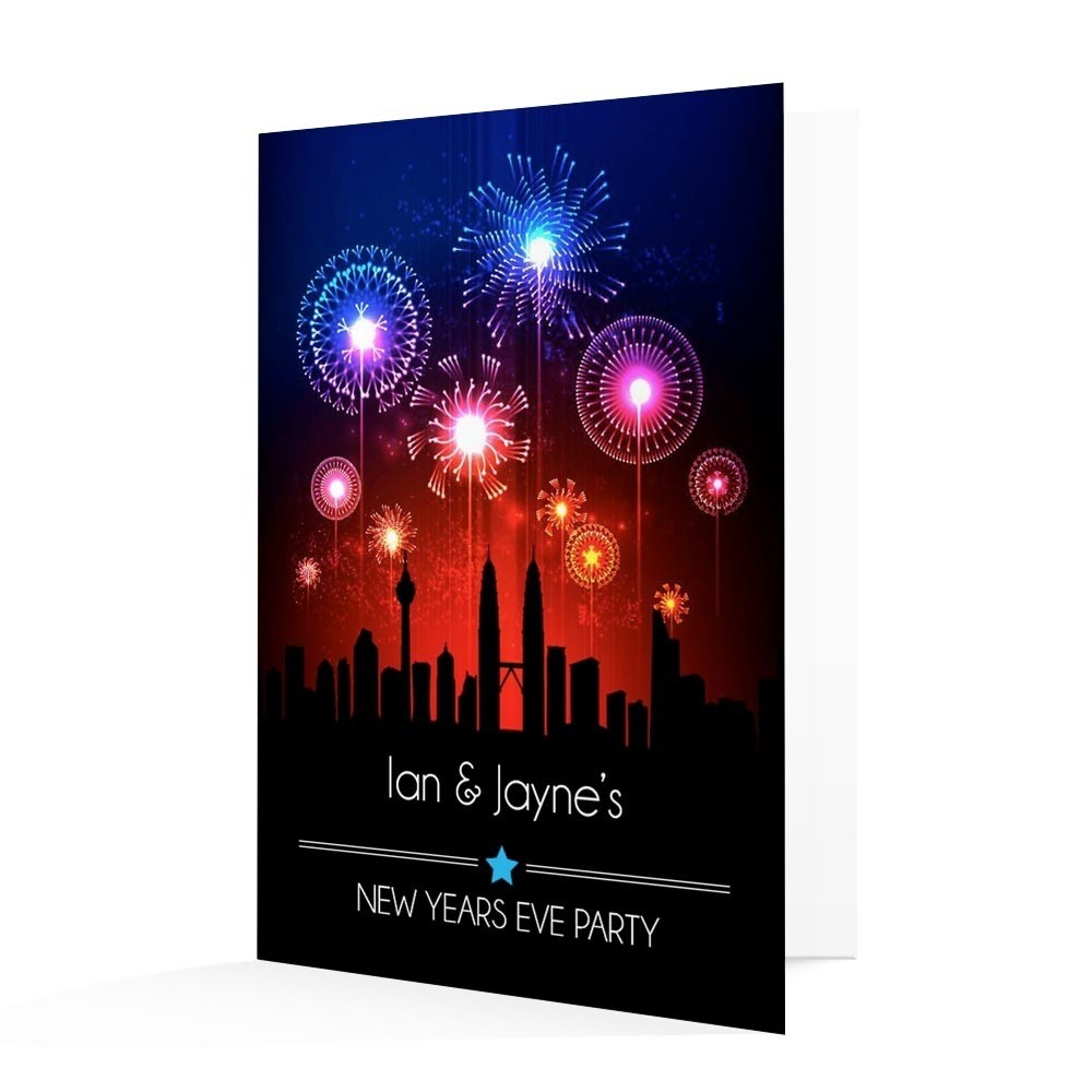 New Year s Invitation Card   Fireworks   Able Labels New Year s Invitation Card   Fireworks