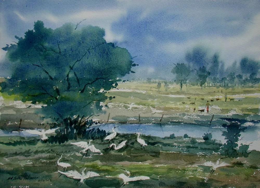 Jiaur Rahman Artwork: Landscape | Original Watercolor ...