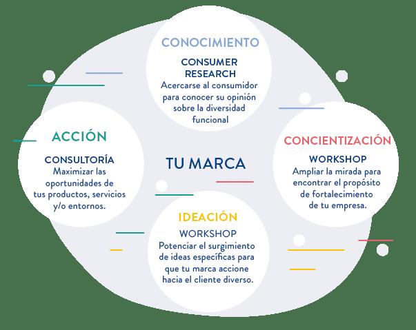 """En el diagrama podemos observar cuatro círculos unidos entre sí formando otro círculo más grande que dice en su interior """"Tu marca"""". Cada círculo tiene un color distinto. Empezando desde arriba y recorriendo hacia la derecha tenemos primero un círculo azul, dentro del mismo dice """"Conocimiento: consumer research. Acercarse al consumidor para conocer su opinión sobre la diversidad funcional"""". El segundo círculo es rojo y adentro tiene escrito """"Concientización: workshop. Ampliar la mirada para encontrar el propósito de fortalecimiento de tu empresa"""". El tercer circulo es amarillo y dice """"Ideación: workshop. Potenciar el surgimiento de ideas específicas para que tu marca accione hacia el cliente diverso"""". El último círculo es verde y adentro dice """"Acción: consultoría. Maximizar las oportunidades de tus productos, servicios y/o entornos""""."""