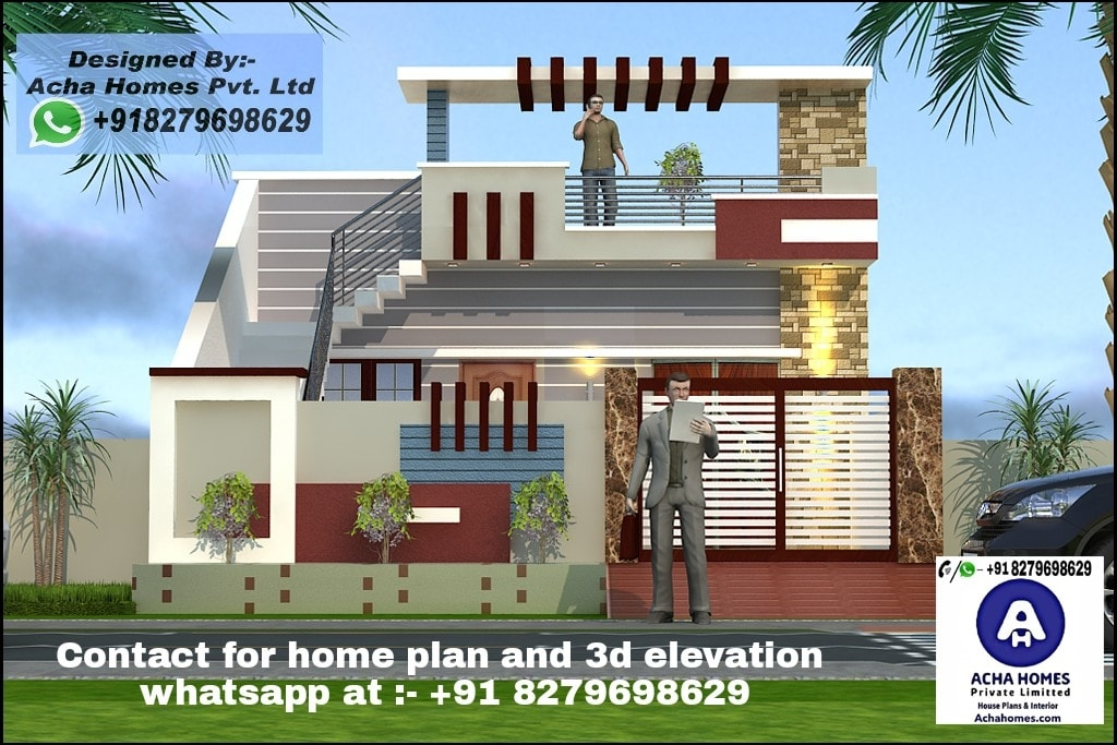 Best House Front Elevation Top Indian 3D Home Design 2 Bhk   Home Front Staircase Design   Entrance Front Door Stair   Home Jina   Ghar   Roof Railing Brick   Outer Wall