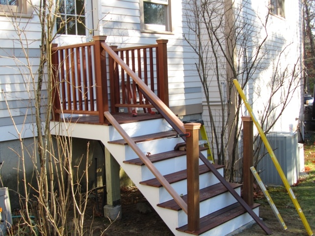 Installing Porch Railings Concord Carpenter | Outside Stair Railing Installation | 3 Step | Rail | Painted Porch | Sunroom | Door Offset