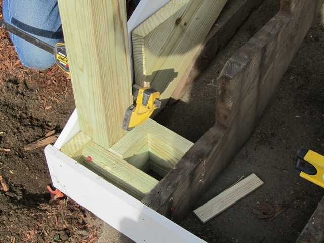 Replacing An Exterior Stair Post Concord Carpenter | Exterior Wood Newel Posts | Porch | Banister | Stair Railing | Oak | Cap