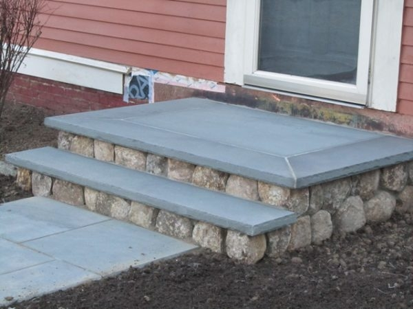 Install Flashing Between Masonry Steps And Wood House Concord   Wood Steps Over Concrete Steps   Cement   Concrete Patio   Brick   Stair Stringers   Curb Appeal