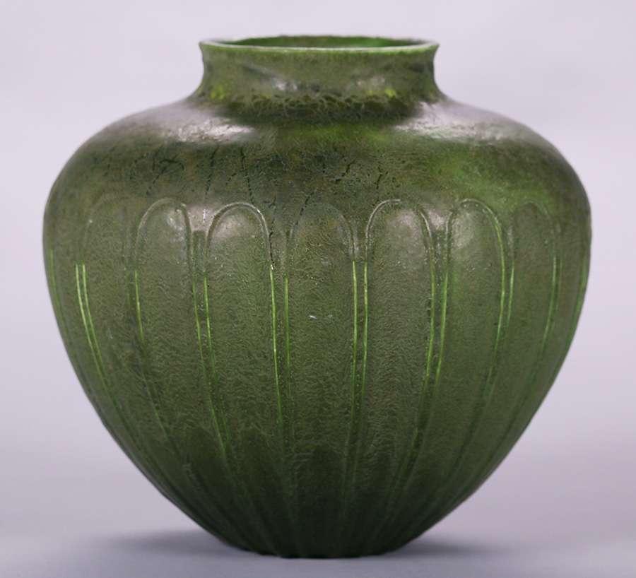 Grueby Matte Green Mellon Shaped Vase California