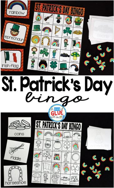 Bingo Sheets for St  Patrick s Day   Play Bingo with your elementary age students for a fun St  Patrick s Day  themed game