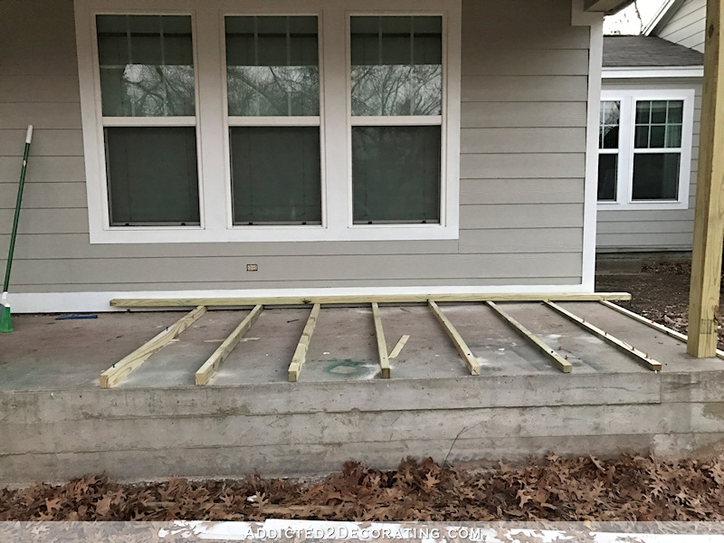 Covering An Existing Concrete Porch With Wood Part 1 Addicted | Wood Railing On Concrete Porch | Surface Mount | Wood Decorative | Vinyl | Front Entry Stair | Bluestone Patio