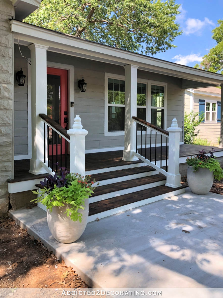 My Finished Front Porch Steps And Railings Addicted 2 Decorating® | Handrails For Outside Steps | Single Step | Rustic | Aluminum | Front Porch | Walkway