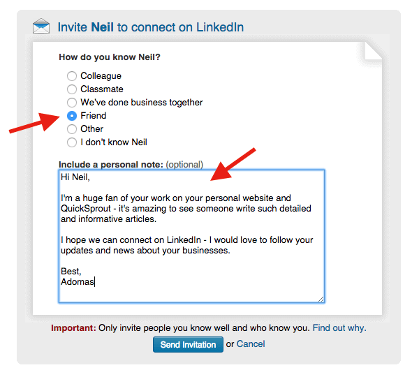 The biggest mistake youre making on linkedin and how to fix it how to connect with people on linkedin by adding a personal note stopboris Images