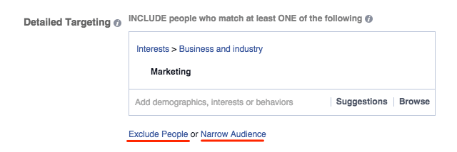 Facebook Detailed Tageting - include or exclude people in your advertising campaign