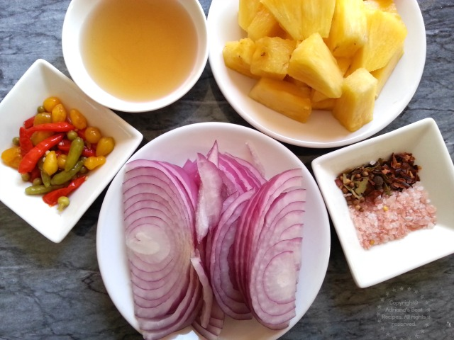 Ingredients for preparing the Spicy Pickled Pineapple on Sous Vide#ABRecipes #SousVideSupreme