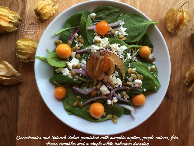 Gooseberries and Spinach Salad garnished with pumpkin pepitas, purple onions, feta cheese crumbles and a simple white balsamic dressing #ABRecipes