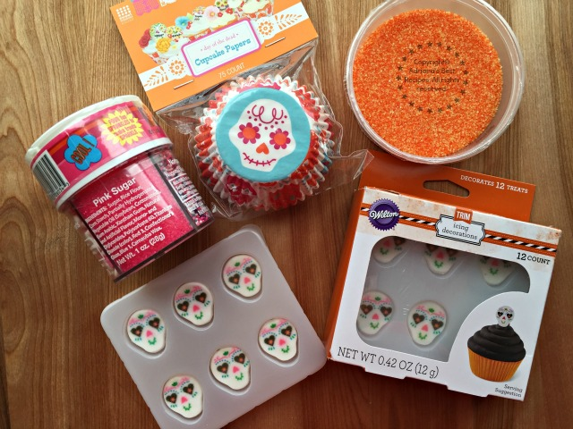 Materials to decorate the Sugar Skull Pumpkin Cupcakes #ABRecipes