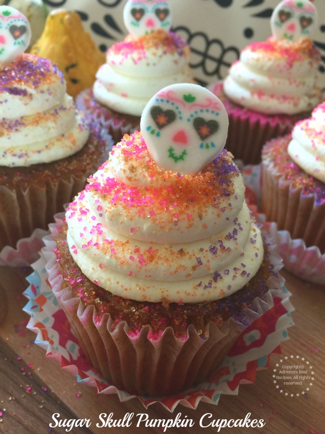 Sugar Skull Pumpkin Cupcakes Recipe #ABRecipes