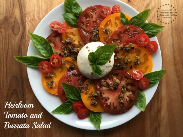 A decadent Heirloom Tomato and Burrata Salad