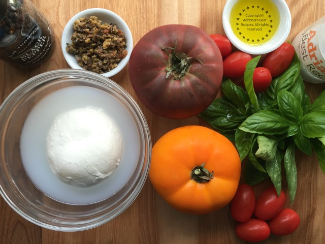 Ingredients for making the Heirloom Tomato and Burrata Salad