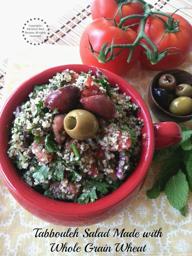 Tabbouleh salad made with whole grain wheat