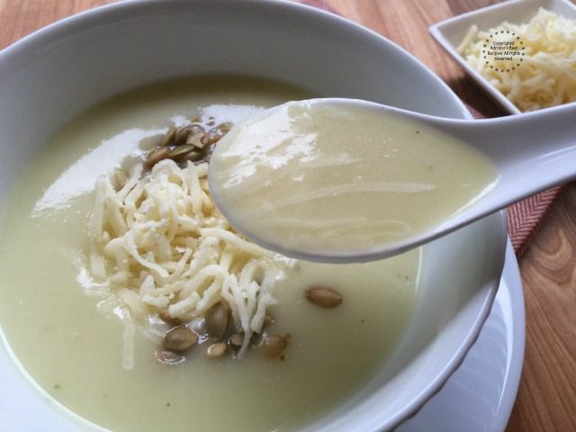 A comforting and luscious spoon of chayote cream soup