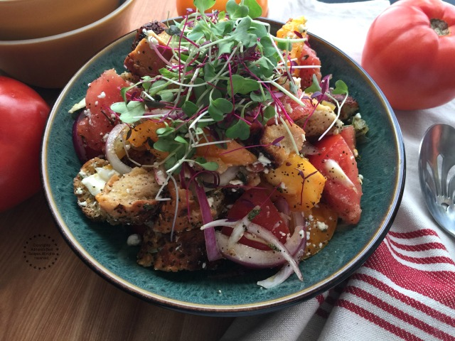 This panzanella salad with toasted everything bagels is without a doubt a delicious side dish