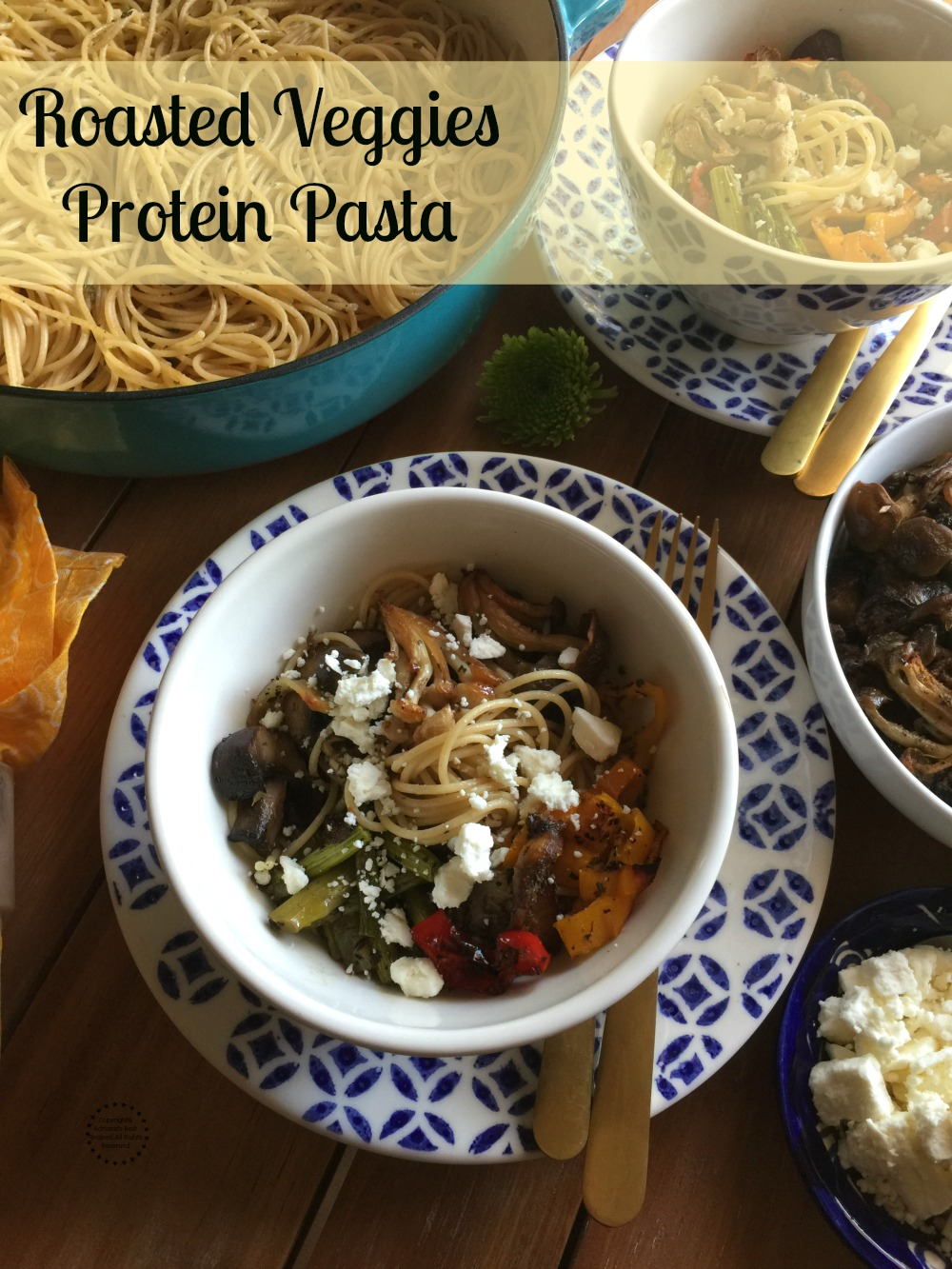 Roasted Veggies Protein Pasta made with fresh mushrooms, asparagus, sweet peppers and garlic