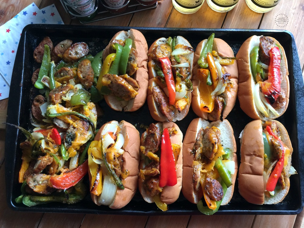 The chicken fajita hot dogs are the perfect treat to bring to a block party or a potluck