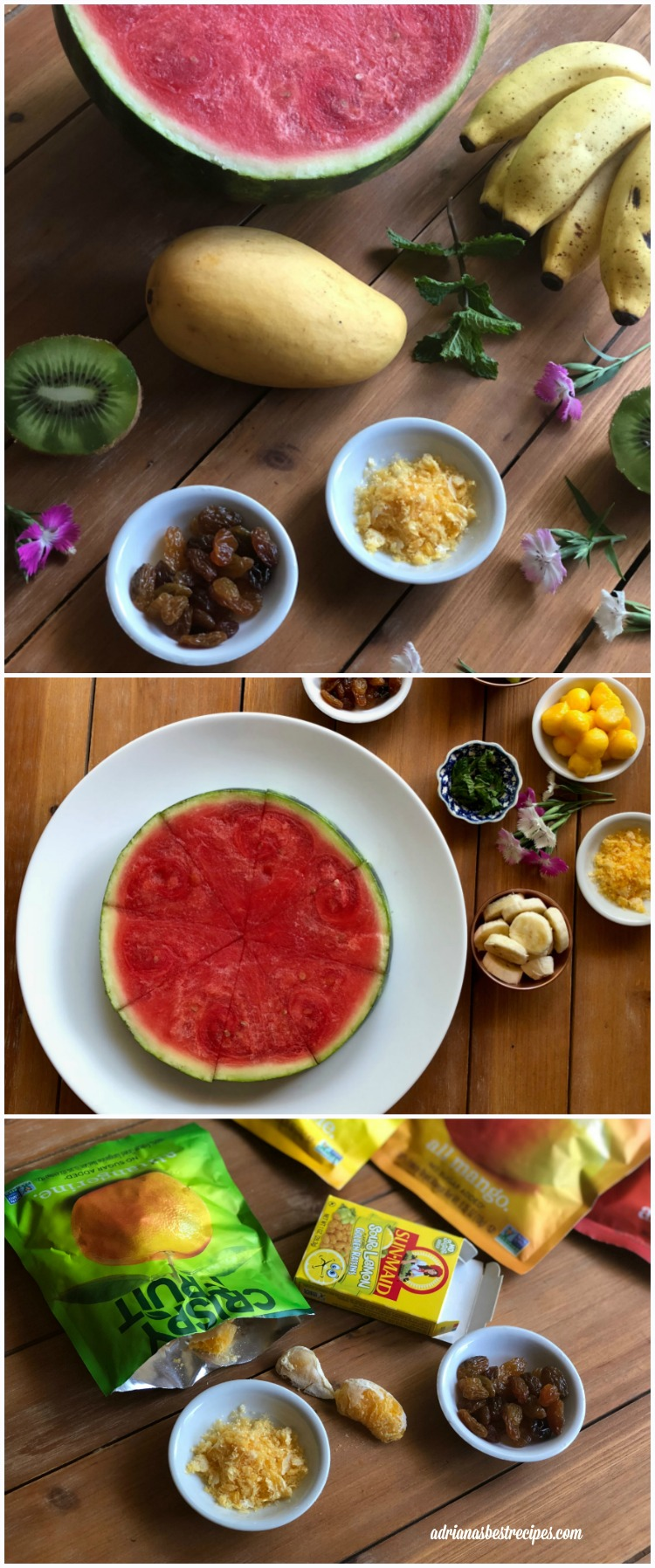 Ingredients for the fresh watermelon pizza