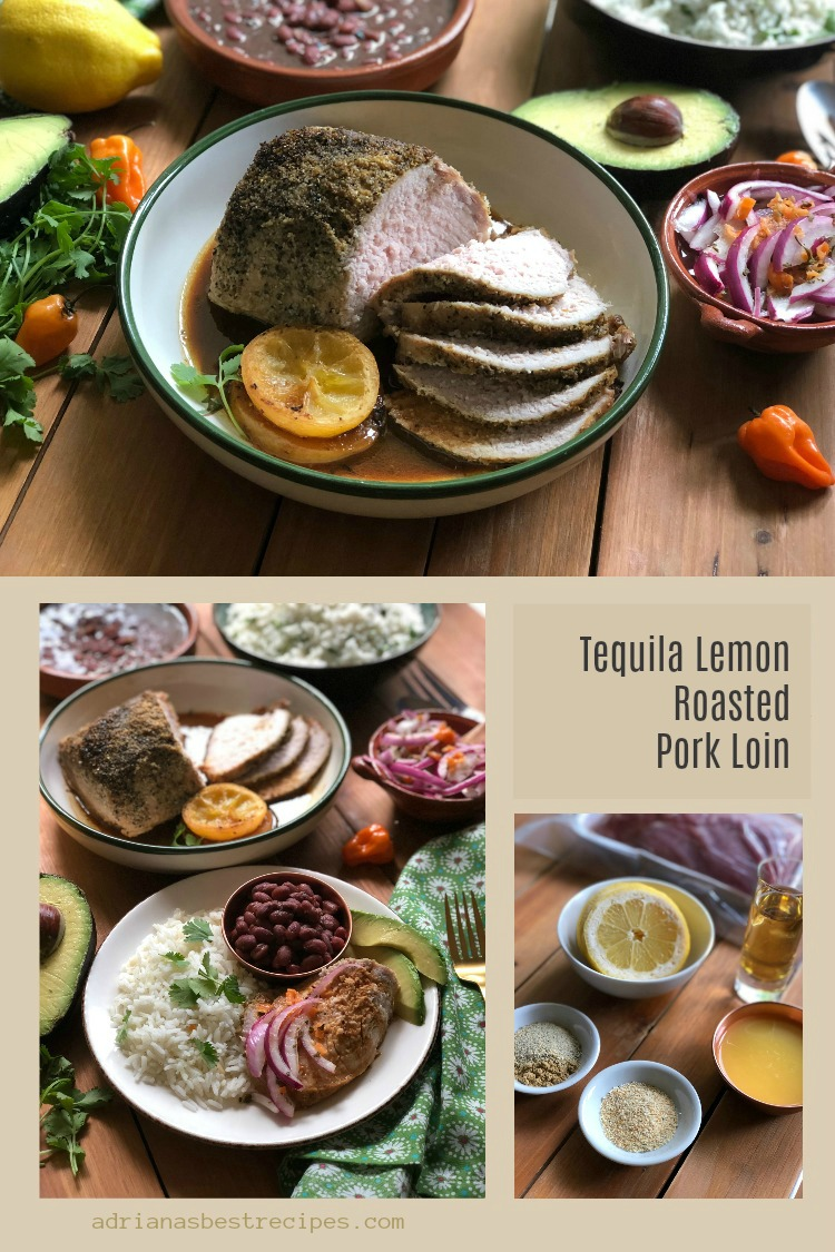 The tequila lemon roasted pork loin is inspired in the famous margarita cocktail. Using tequila reposado, citrus juices and Mexican spices to make a flavorful dish that is ready in forty minutes. #PorkEsSabor ~ AD