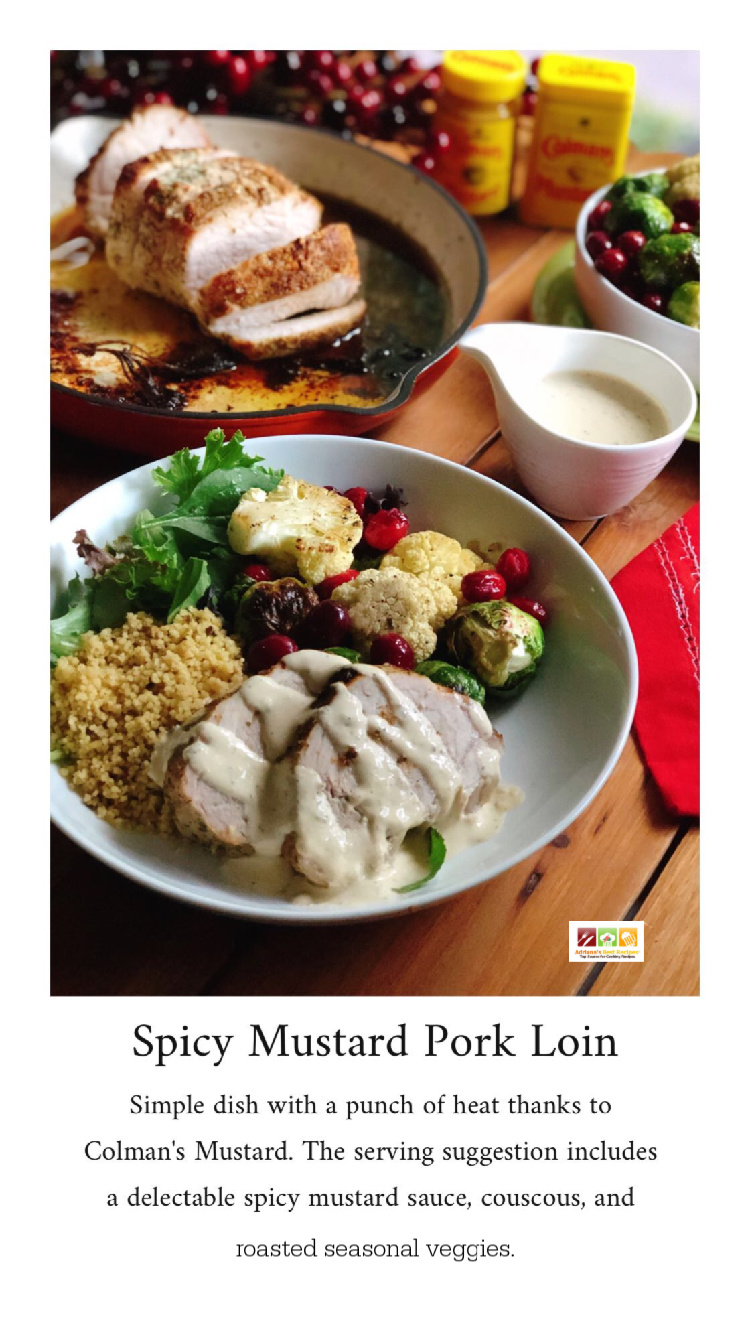 The spicy mustard pork loin is simple to make and has a delicious flavor thanks to Colman's Mustard by adding a punch of heat to traditional holiday recipes. The serving suggestion includes a spicy mustard sauce, couscous, and roasted vegetables. #ColmansMustard #HotMessAround #BringThePunch ~ AD