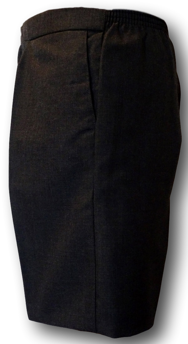 Charcoal Grey Wool Worsted Short Trousers With Cotton Lining