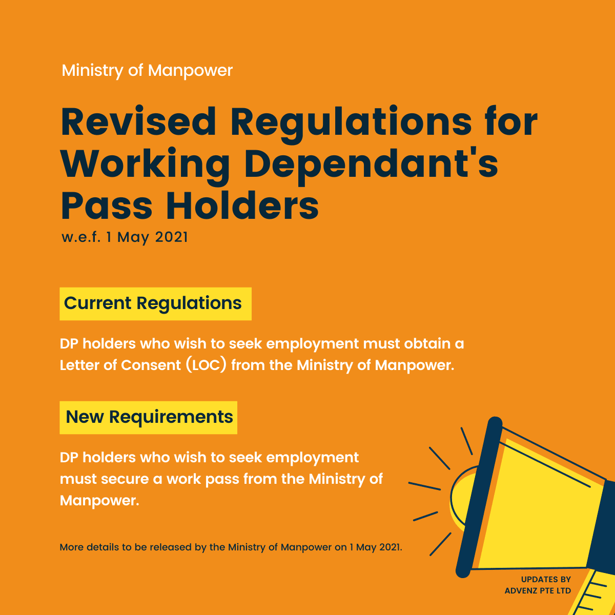 Revised Regulations for Working Dependant's Pass Holders (MOM)