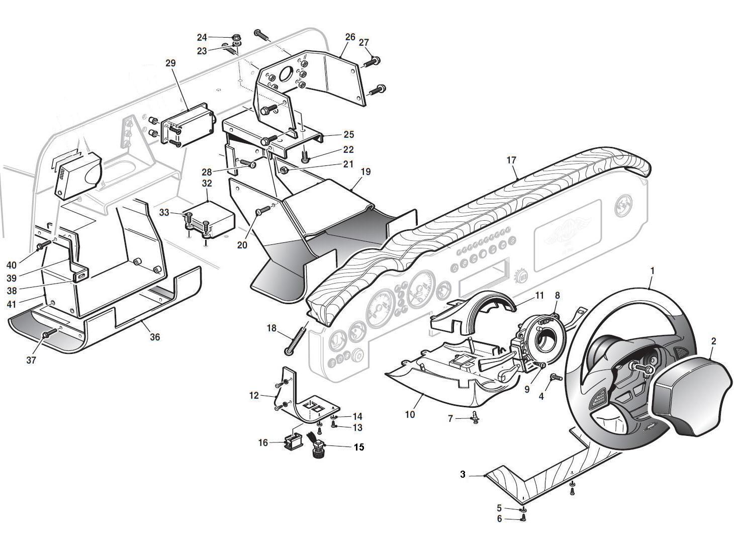 Steering wheel dashboard ancillaries