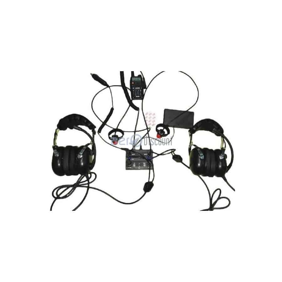 Aviation inter 2 pax kenwood molded double jacks wire ptt