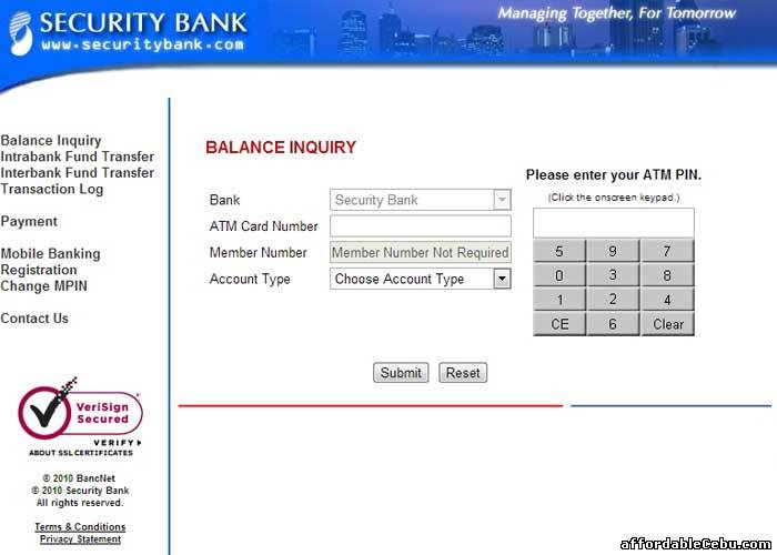 Security Bank Cash Card Account Number