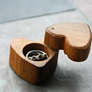 Heart Shaped Wood Ring Box Handmade And Hand Engraved