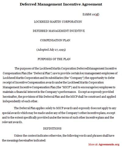 Deferred Management Incentive Agreement, Sample Deferred ...