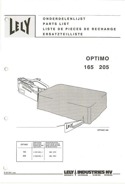 Lely Mower Optimo 165 205 Parts Manual