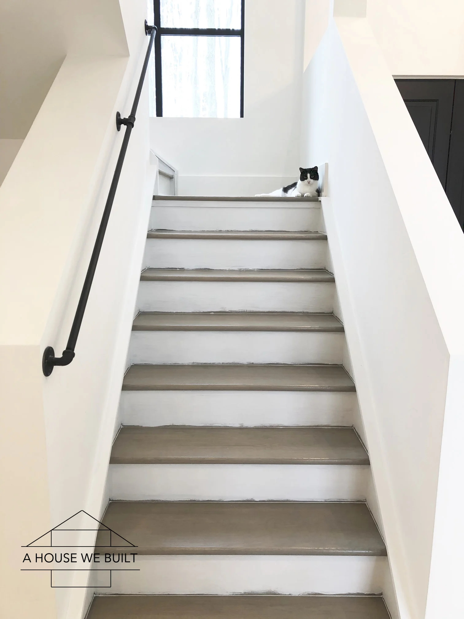 How To Stain And Paint Stairs | Painted And Stained Stairs | Easy Diy | Two Tone | Espresso Stained | Pinterest | Home