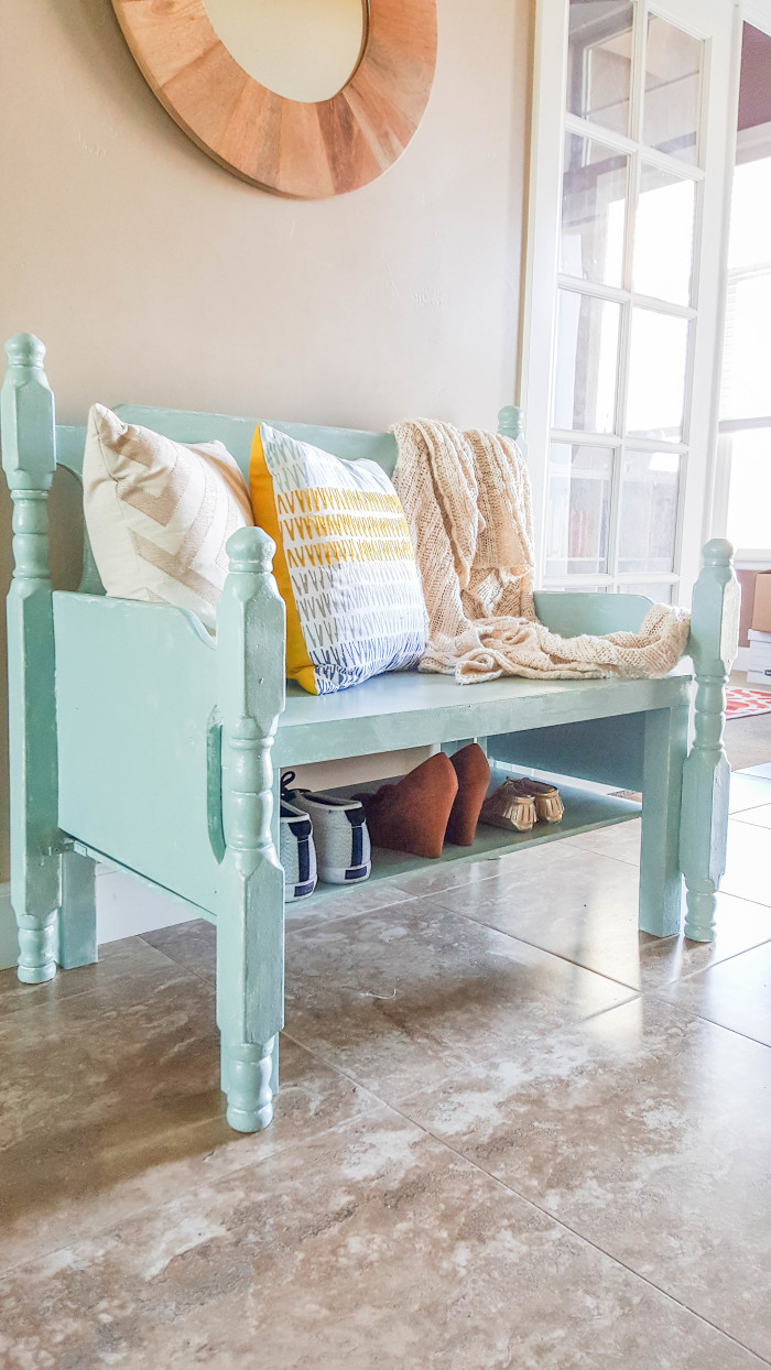 Diy Entryway Bench From Thrifted Finds A Joyful Riot