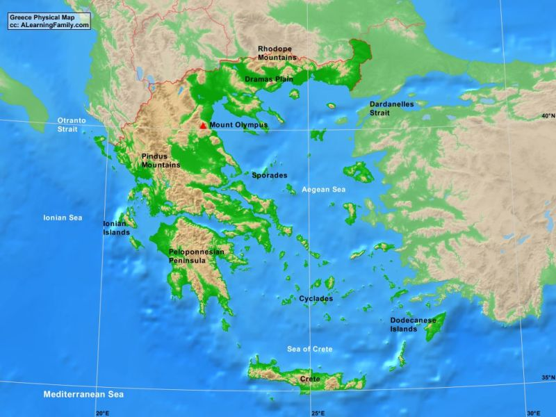 Greece Physical Map   A Learning Family Greece Physical Map