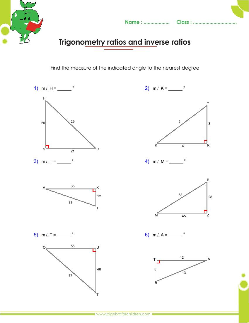 B Sics Trig Ometry Problems Nd Nswers Pdf Gr De 10