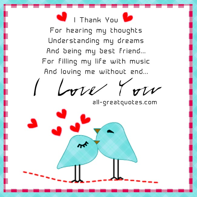 Thank You Being My Love Quotes