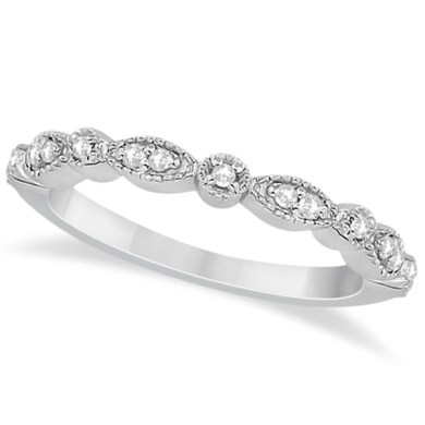 Petite Marquise   Dot Diamond Wedding Band in Platinum  0 13ct  Petite Marquise   Dot Diamond Wedding Band in Platinum
