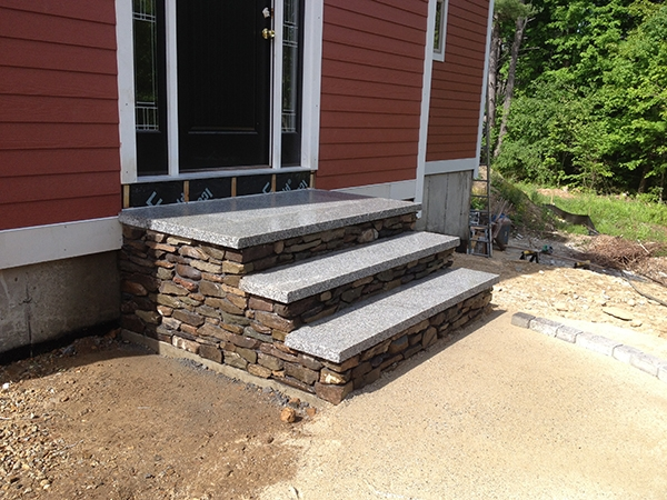 Outdoor Stairs And Stone Steps For Front Back Yard Landscaping | Exterior Stone Stair Treads | Stone Slab | Grey Flagstone Step | Solid Weathered | Carpet Metal Rail Wood Cap | Brick