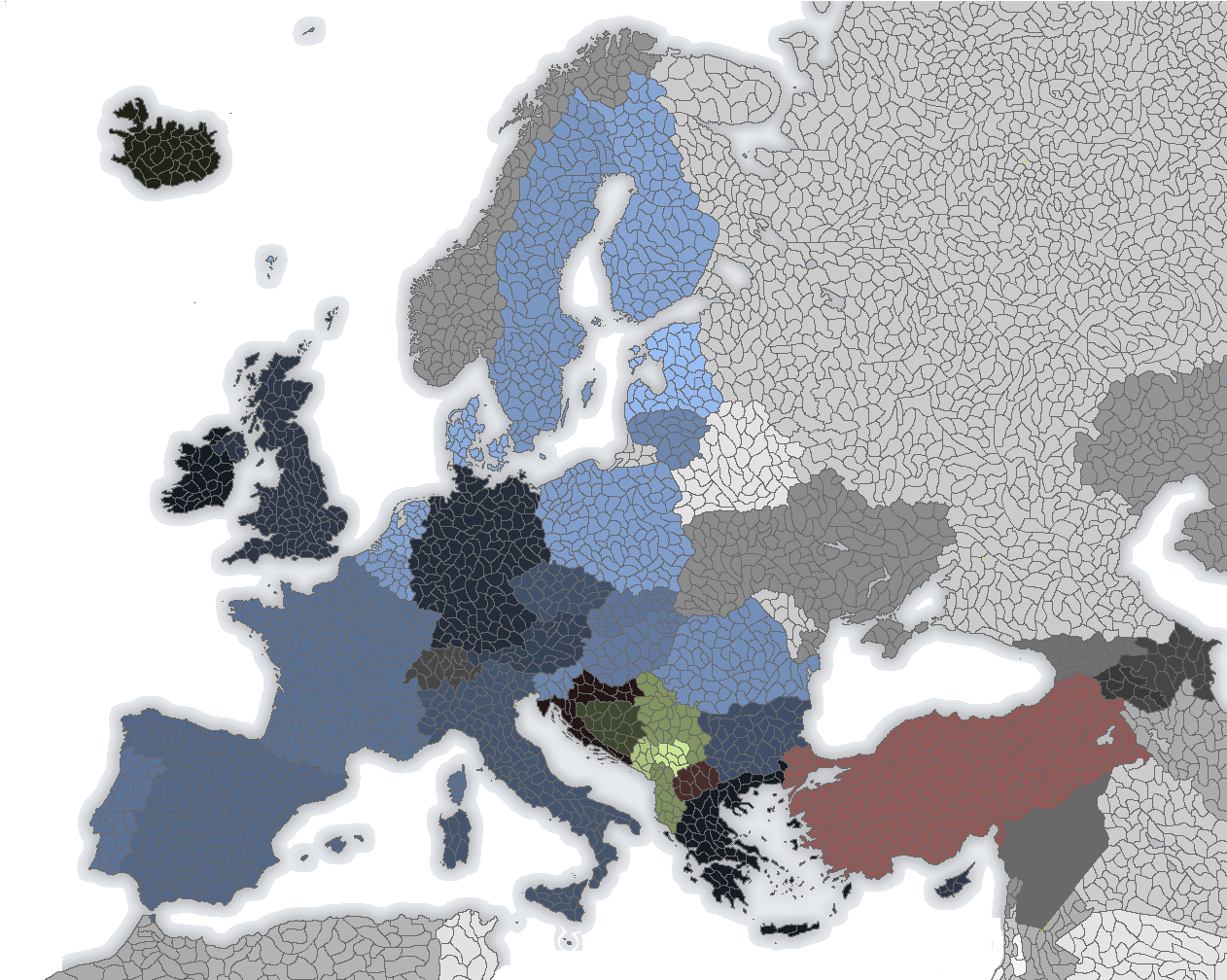 A blank map of Europe   Alternate History Discussion Here s the above posted blank map divided up into modern countries  The  blue countries are members of the EU  the red are candidate states  the  green are
