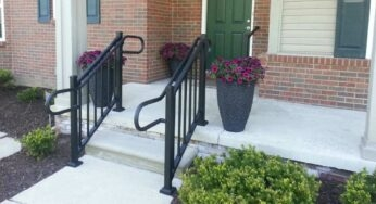 Best Materials For Outdoor Handrails Ahd | Front Porch Stair Railing | Single Step | Outdoor | Rail | Pressure Treated | White