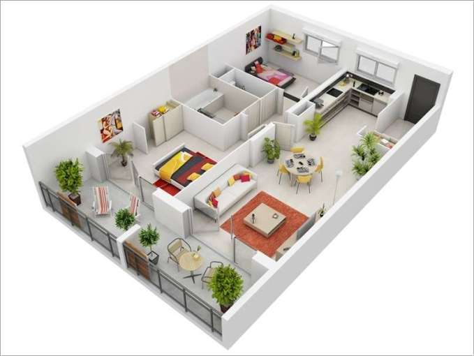 10 Awesome Two Bedroom Apartment 3D Floor Plans 2