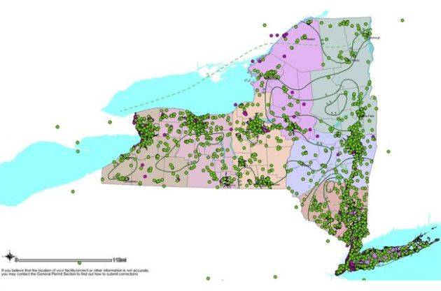 Interactive map of stormwater information in New York State     Screenshot of the New York State Stormwater Interactive Map