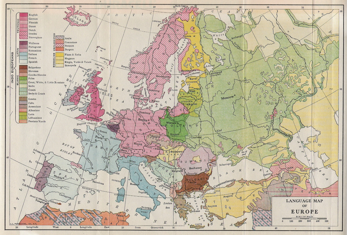 Historical Maps of Europe     Language Map of Europe  cca