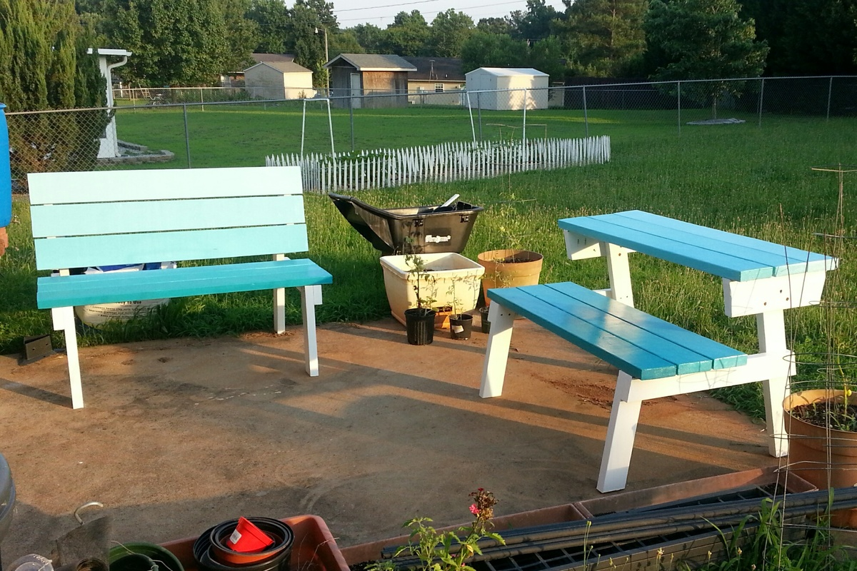 Picnic Table Plans With Detached Benches Made By Wood