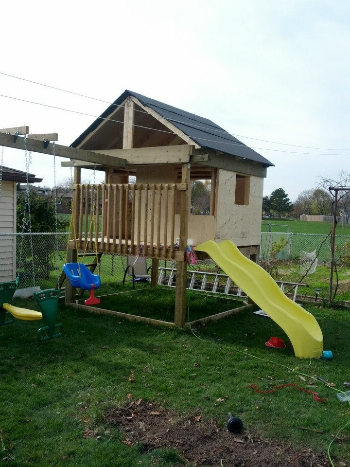 Ana White Playhouse With Swingset Diy Projects