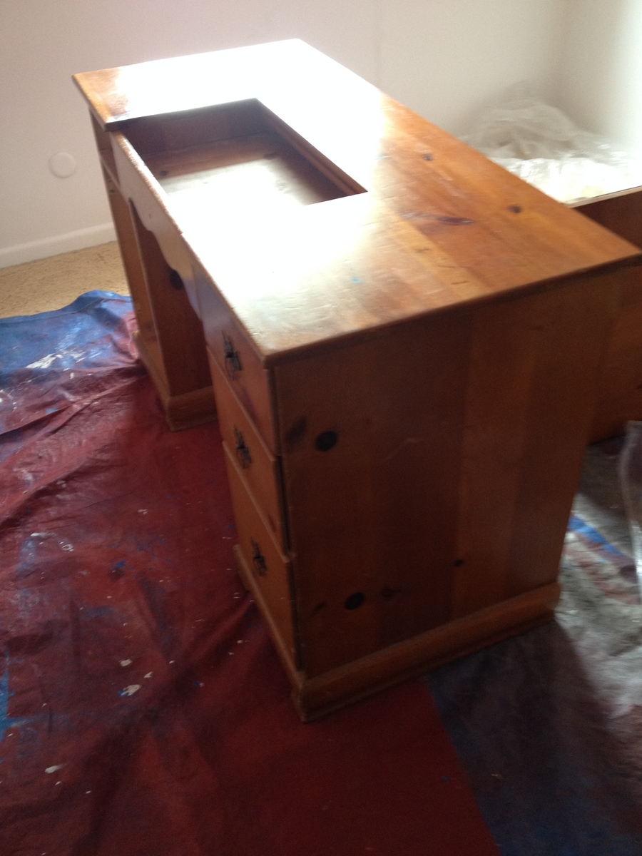 Ana White Sewing Desk From Plain Pine To Antiqued Blue